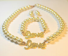 Pearl & Crystal Love Necklace Set* * New Ladies Women Gourgess Cream Glass