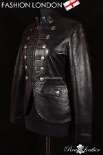 'LEGION' Ladies Military Parade Black Designer Fashion Lambskin Leather Jacket