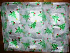 WHITE SCARF WITH GREEN CHRISTMAS TREE'S AND HOLLY DESIGN