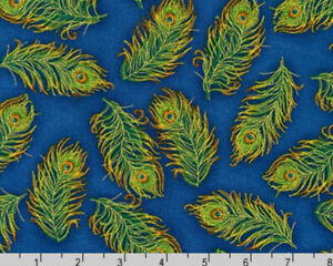Blue Gold Metallic Peacock Feathers Palais Jardin  Robert Kaufman  Fabric 1/2 Y