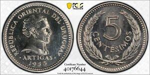 1953 Uruguay 5 Centesimos PCGS SP66 - Kings Norton Mint Proof