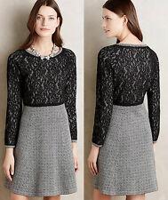 ANTHROPOLOGIE NWT Farah Lace Dress Sweaterdress by Sparrow Gray Black Sz L $158