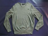 Polo Ralph Lauren Men's V-Neck Sweater Pima Cotton Gray Heather M Medium EUC