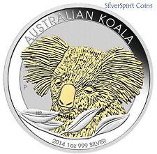 2014 KOALA GILDED Silver1oz Coin with Gold Overlay