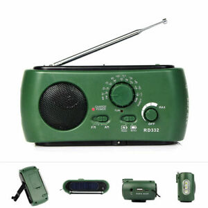Hand Cranked FM/AM Solar Powered Radio w/ USB Flashlight Phone Charger 1000MAh