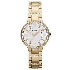 FOSSIL Uhr ES3283 VIRGINIA Damen Edelstahl Gold Armbanduhr mit Kristallen Neu