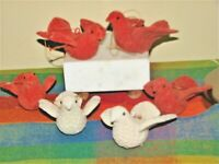 Vintage Red & Off White Flocked Bird Ornaments Lot of 6 Christmas Holiday Decor