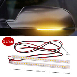 2PCS 12V Car Side Mirror LED Amber Indicator Lamp Soft Turn Signal Light Strip