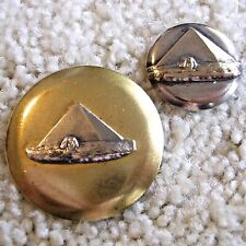 Ex Rare Pair of Pyramid, Sphynx buttons on brass one silver plated, ca. 1900s