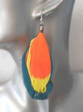 Multicolour Three Feather Earrings  - Choice of Colours - Pierced or Clip-on