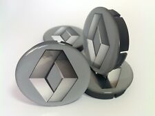 RENAULT 4pcs Plastic Wheel Centre Caps with Silicone Emblem 60mm/55mm NEW