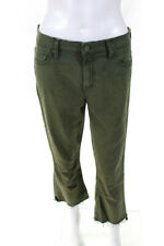 Mother Womens Zipper Fly Fringe Trim Straight Cropped Jeans Green Cotton Size 29