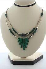 "Handmade Artisan Sterling Silver & Natural Malachite Collar Dangle Necklace- 20"""