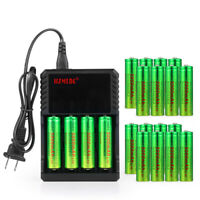 3.7V Button Battery Li-ion Rechargeable Batteries Cell Charger For Flashlight US