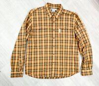 Columbia Sportswear Company Check Gingham Shirt Orange Mix Long Sleeve Sz L