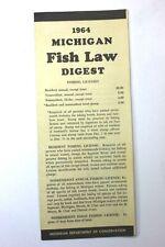 Vintage 1964 Michigan Fish Law Digest- Michigan Dept. of Conservation (Nice)
