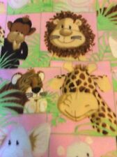"Fleece fabric Giraffe Elephant monkey lion hippo Safari animals 60""w, BTY"
