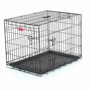 "Lucky Dog Double Door Dog Training Crate, 21""W x 24""H x 30""L, Black"