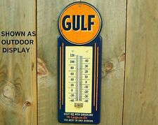 Large Gulf Metal Thermometer Vintage Style Oil Gas Man Cave Garage Shop Dealer (Fits: Hornet)