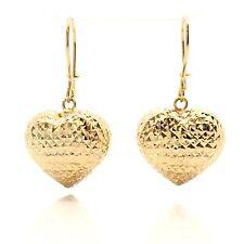 18K Yellow Gold Heart Diamond-Cut Dangling Earrings 2.90 Grams
