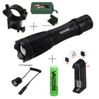 Tatical XM-L T6 5000lm Zoomable LED Flashlight Torch Light Pressure Switch+Mount