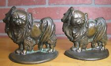 Old PEKINGESE Bookends Cast Iron Bronze Wash Decorative Art Dog Statues