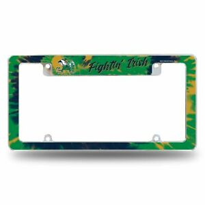 Notre Dame Fighting Irish Chrome Metal License Plate Frame with Bold Tie Dye
