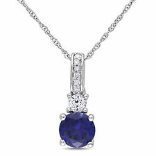 10k White Gold Diamond And 1 1/6 Ct White and Blue Sapphire Pendant With Chain