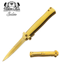 "Gold Eurotop 9"" Stiletto Spring Assisted Liner Lock Knife - NEW - IT-30-GD"