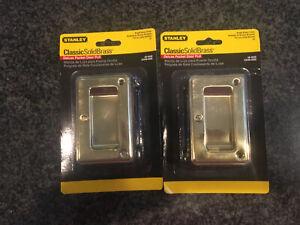 2 BRAND NEW STANLEY CLASSIC SOLID BRASS DELUXE POCKET DOOR PULL CD40-4030