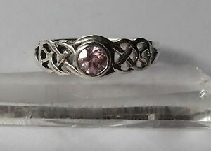 457 Pink Zircon Celtic Ring Solid 925 Sterling Silver faceted sz N/P rrp$49.95