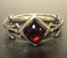 Sterling Silver Garnet and Cross Ring Sz.7