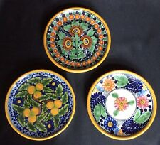 SET OF 3 SMALL TALAVERA LA CORONA TLAXCALA MEXICO FOLK ART POTTERY DISH PLATES