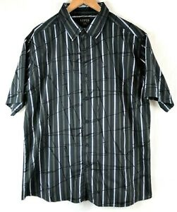 Lowes Premium Size XL Mens Black and Grey Stripes Short Sleeve Collared Shirt
