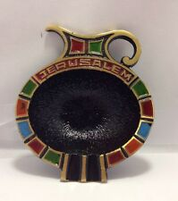 Jerusalem Trinket Brass Dish With Wall Hanger: Unique And Colorful