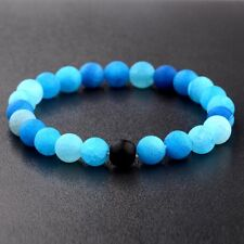 Charm 8MM Blue Natural Stone Beads Yoga Reiki Men's Bracelets Fashion Jewelry