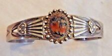 Native American Old Pawn Silver and Multi Colored Center Stone Cuff Bracelet