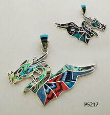 CELESTIAL TURQUOISE/MULTICOLOR OPAL SPINY PAUA INLAY .925 SILVER DRAGON PENDANT