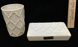 Soap Dish Holder Saver & Cup Tumbler Bathroom Set Max Studio Tan Ceramic Lattice