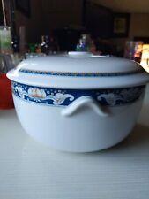"""MINH LONG I Porcelain 9"""" Beautiful Serving Bowl Vintage w/ Lid Rice Vegetables"""