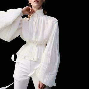 2021 Women's Retro Victorian Style Puff Sleeve Pleated Blouse Shirt Top