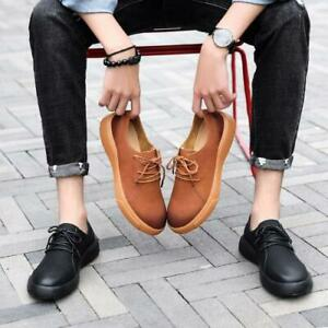 Men Oxfords Shoes Round Toe Lace Up Breathable Faux Leather Business Casual Flat