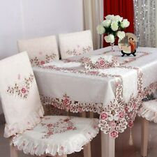 100%Polyester Embroidery Floral Tablecloths Hotel Home Wedding Party Table Cover
