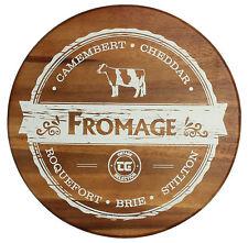 T & G Woodwares Rotondo Formaggio Servire Board In Acacia Con Vintage Stampa