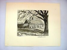 1930-40's C.Palmer Ink & Wash Drawing - House in W. Danville, New Hampshire