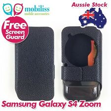 Samsung Galaxy S4 Zoom PU Leather Wallet Case Cover Screen Protector Black