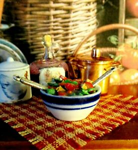 NEW DOLLHOUSE CHEF'S SALAD IN CERAMIC BOWL, STUNNING FOOD DISPLAY, COLORFUL
