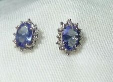 GENUINE 10K 10CT WHITE GOLD NATURAL TANZANITE STUD EARRINGS