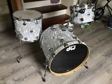 DW Collectors Series Maple 22/13/16 White Satin Flame Moire CLEAN