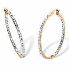 PalmBeach Jewelry Diamond Accent Inside-Out Hoop Earrings 18k Gold-Plated